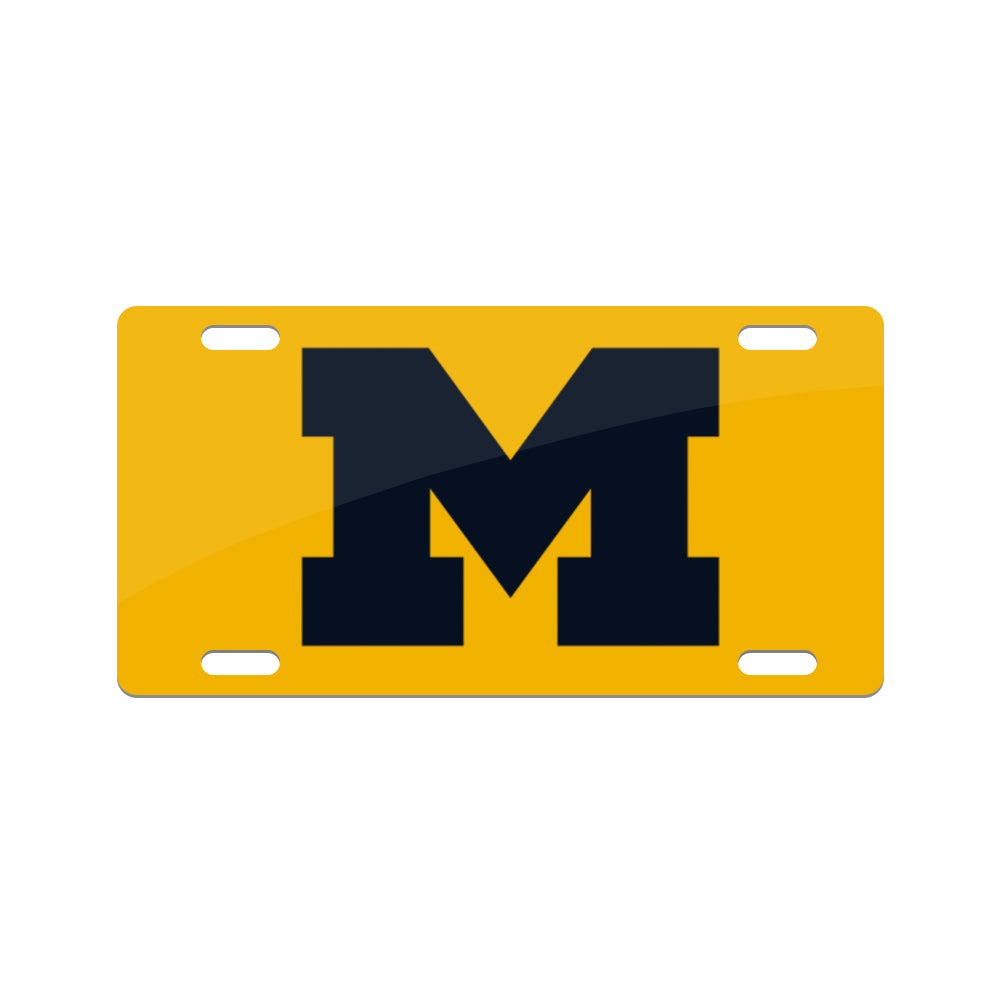Jay Mac Sports NCAA Michigan Wolverines Metal License Plate Yellow