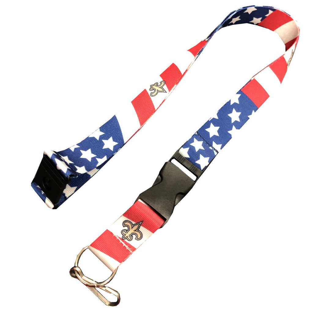 Aminco NFL New Orleans Saint Stars and Stripes Breakaway Lanyard