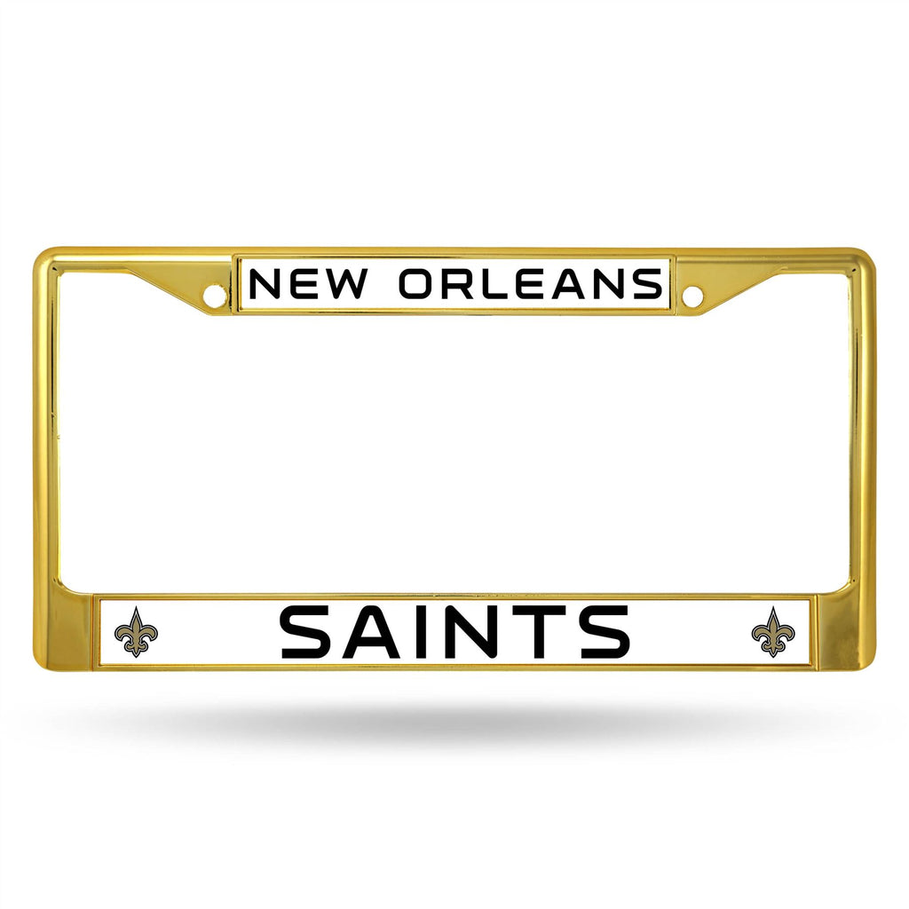 Rico NFL New Orleans Saints Colored Auto Tag Chrome Frame FCC Gold