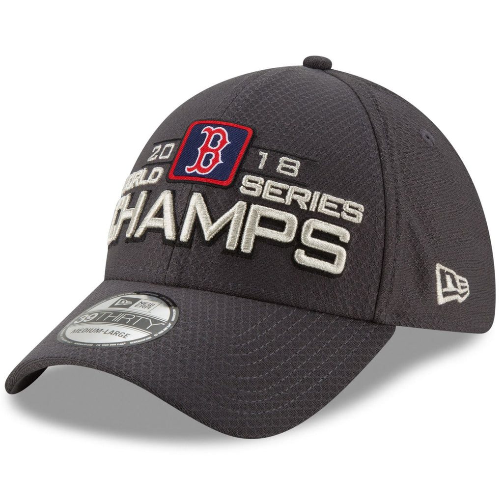 New Era MLB Men's Boston Red Sox 2018 World Series Champions Locker Room 39THIRTY Flex Fit Hat Grey One Size Fits Most
