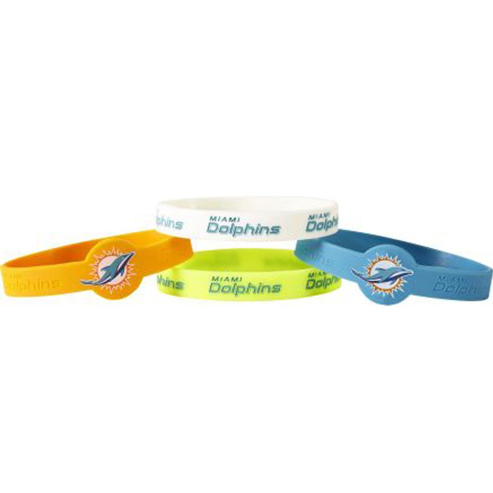 Aminco NFL Miami Dolphins 4-Pack Silicone Bracelets