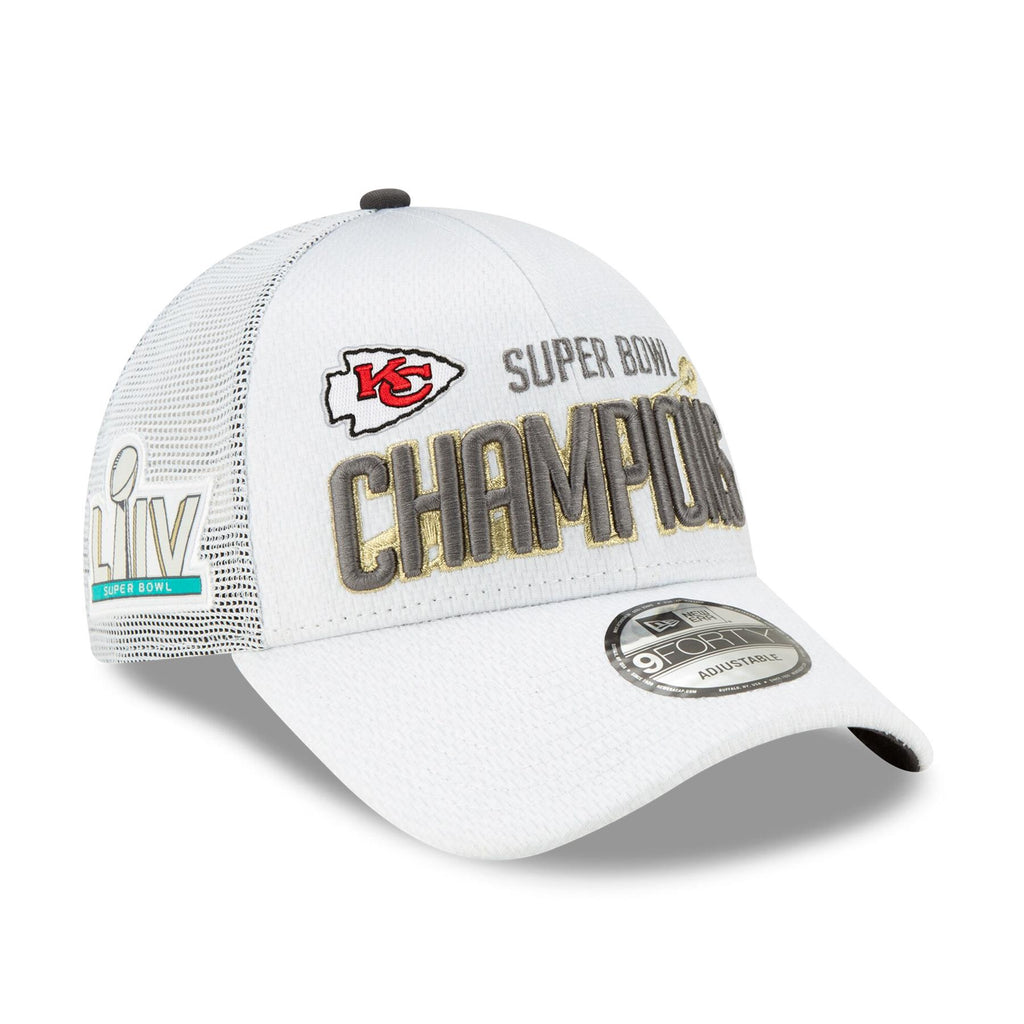 New Era NFL Men's Kansas City Chiefs Super Bowl LIV Champions 9TWENTY Adjustable Hat White One Size
