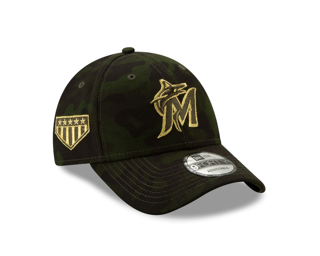 best sneakers 4b861 40599 ... New Era MLB Men s Miami Marlins Armed Forces Day On-Field 9FORTY  Adjustable Hat ...