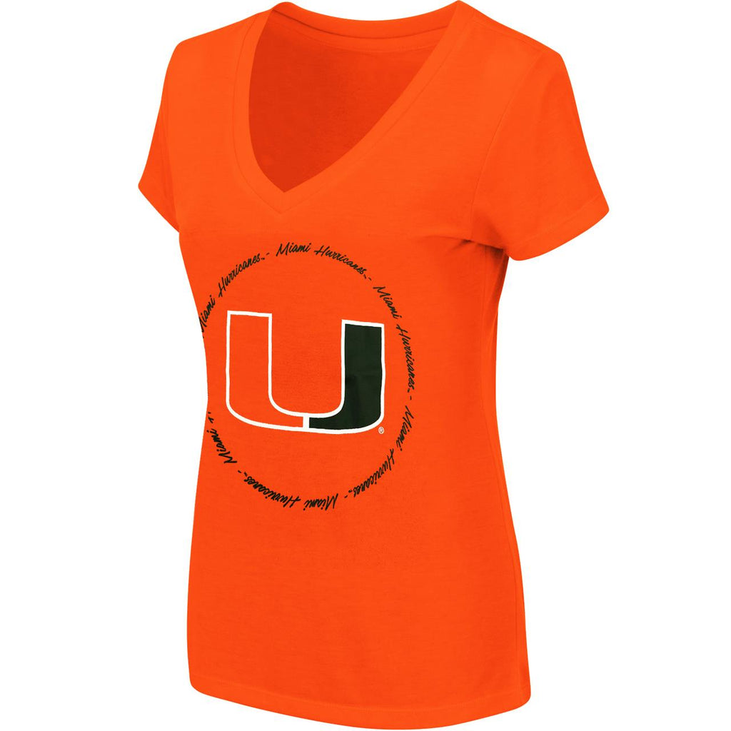 Colosseum NCAA Women's Miami Hurricanes Parma V-Neck T-Shirt