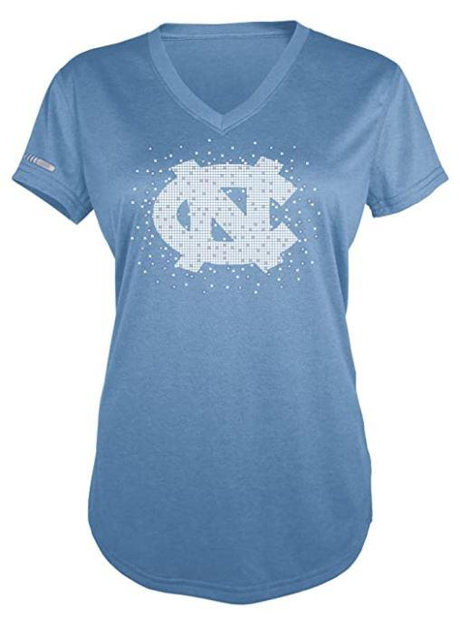 Majestic NCAA Women's North Carolina Tar Heels Particle V-Neck T-Shirt
