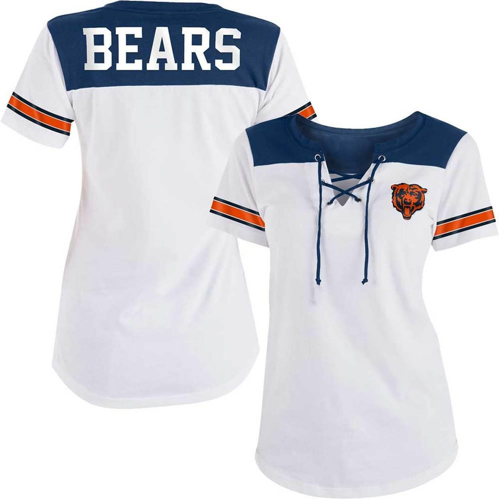 5th & Ocean By New Era NFL Women's Chicago Bears Baby Jersey Lace-Up T-Shirt