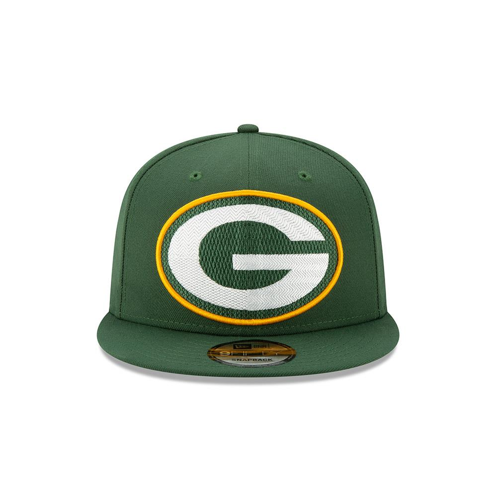 New Era NFL Men's Green bay Packers Big Logo Threads 9Fifty Adjustable Snapback Hat Black