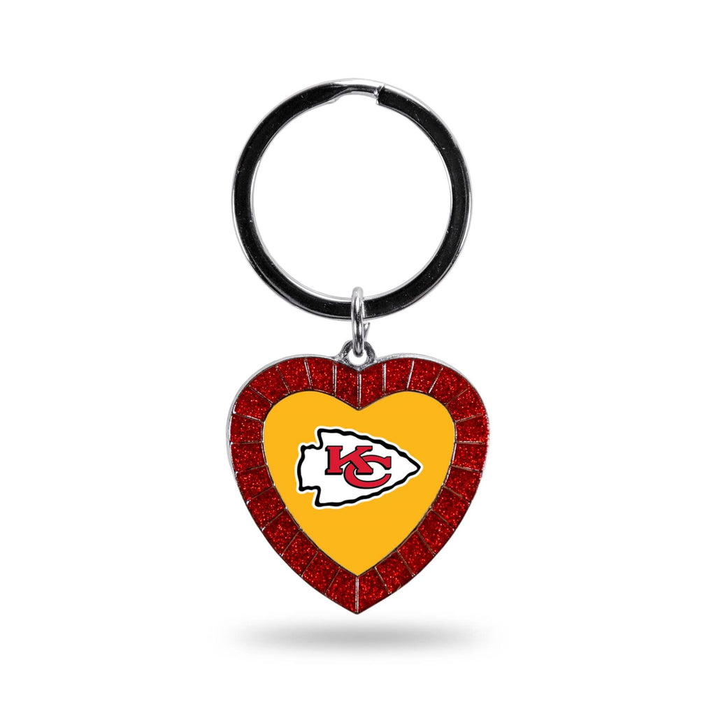 Rico NFL Kansas City Chiefs Rhinestone Heart Colored Keychain