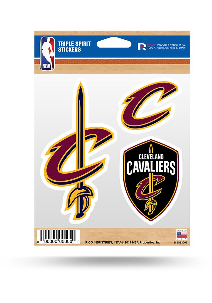 Rico NBA Cleveland Cavaliers Triple Spirit Stickers 3 Pack Team Decals
