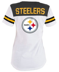 5th & Ocean NFL Women's Pittsburgh Steelers Striped Lace-Up T-Shirt