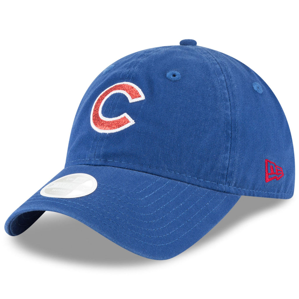 New Era MLB Women's Chicago Cubs (C Logo) Team Glisten 9TWENTY Adjustable Hat Blue OSFA