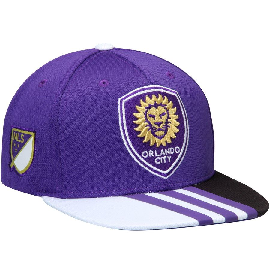 Adidas MLS Men's Orlando City Soccer Club Authentic Team Adjustable Hat Snapback Purple One Size