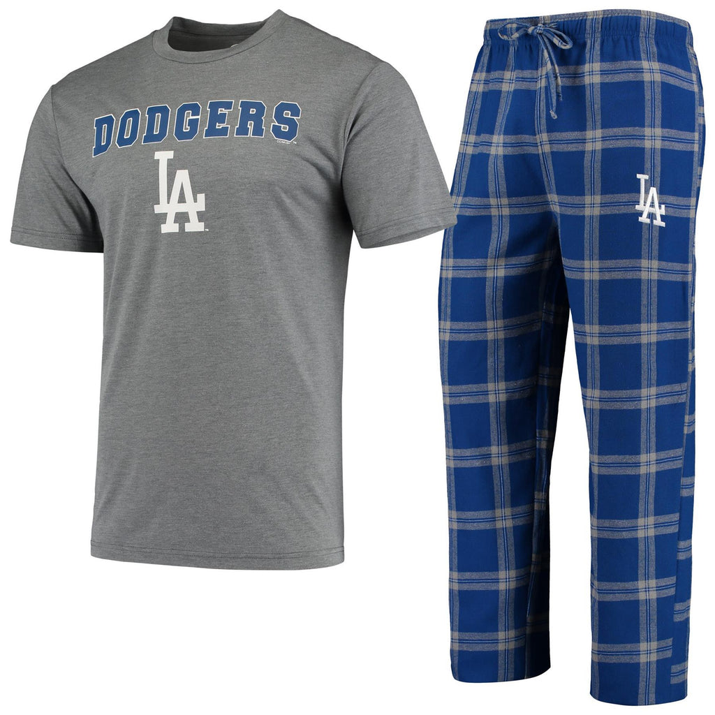 Concepts Sport MLB Men's Los Angeles Dodgers Troupe Shirt And Pants Pajama Sleepwear 2-Piece Set
