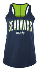 5th & Ocean By New Era NFL Women's Seattle Seahawks Foil Wordmark Racerback Tank Top Navy