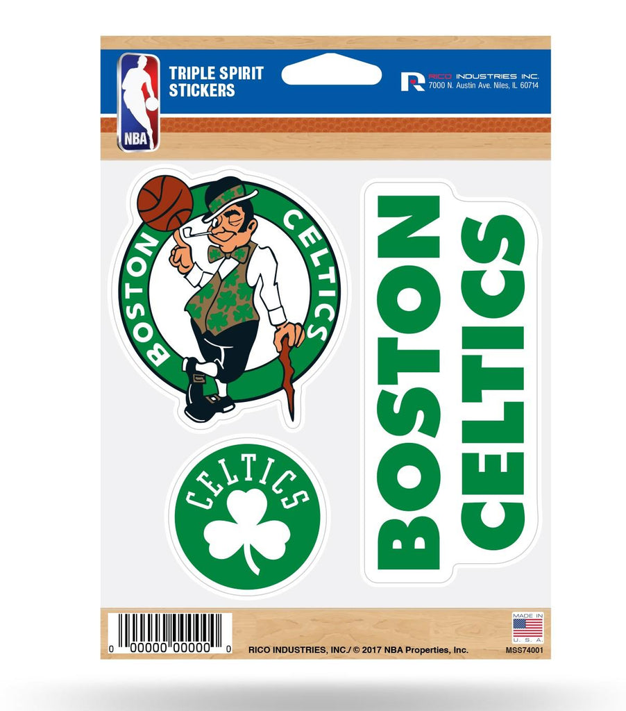 Rico NBA Boston Celtics Triple Spirit Stickers 3 Pack Team Decals