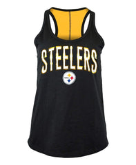 5th & Ocean By New Era NFL Women's Pittsburgh Steelers Foil Wordmark Racerback Tank Top Black