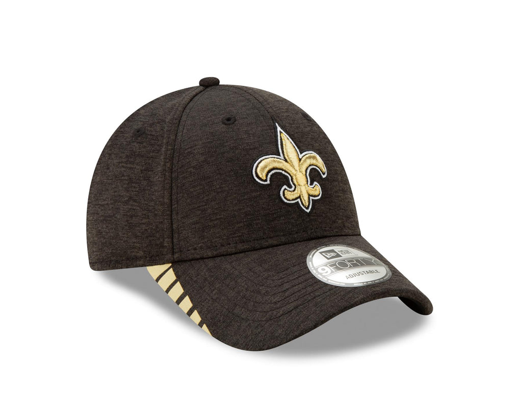 New Era NFL Men's New Orleans Saints Visor Trim 9FORTY Adjustable Hat Black OSFA
