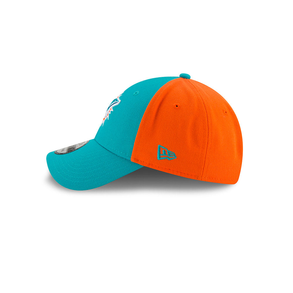 New Era Men's NFL Miami Dolphins NE Blocked Team 9FORTY Adjustable Hat Teal/Orange OSFA