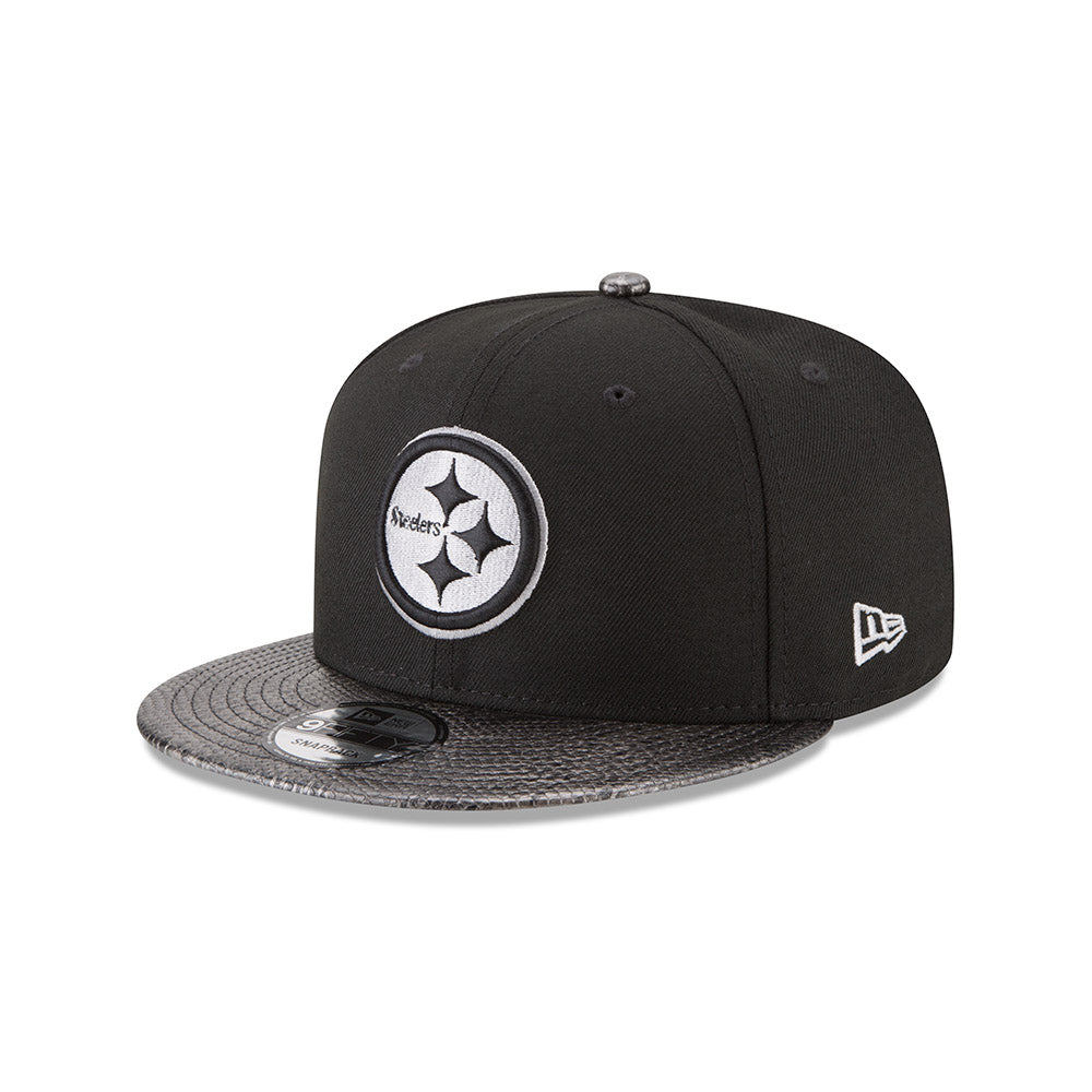 a3c2b01c0dd491 New Era NFL Men's Pittsburgh Steelers Snake Skin Sleek 9FIFTY Snapback Hat  Black OSFM