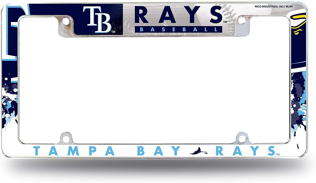 Rico MLB Tampa Bay Rays Auto Tag All Over Chrome Frame AFC