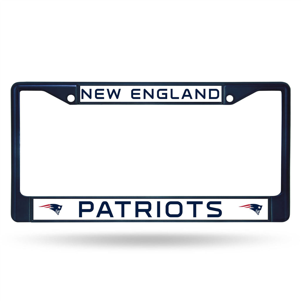 Rico NFL New England Patriots Colored Auto Tag Chrome Frame FCC Navy