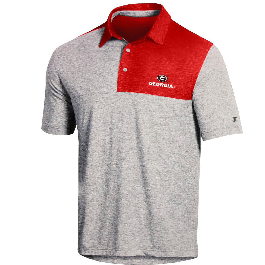 Champion NCAA Men's Georgia Bulldogs Field-Day Color Block Lightweight Polo T-Shirt