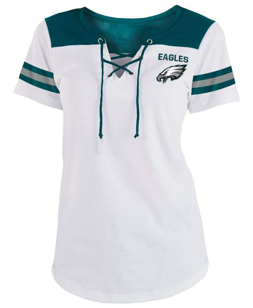 5th & Ocean NFL Women's Philadelphia Eagles Striped Lace-Up T-Shirt