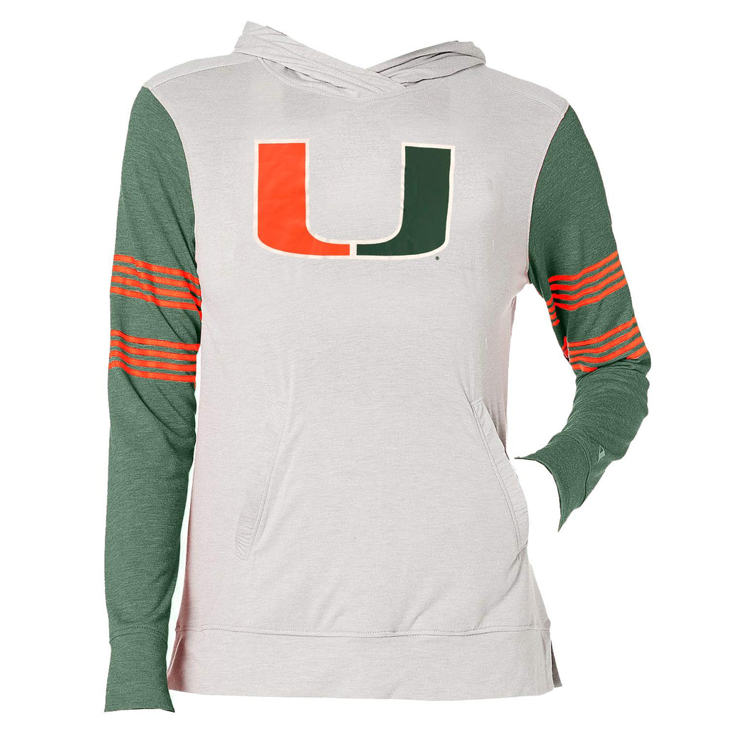 Champion NCAA Women's Miami Hurricanes Gym Issue Lightweight Long Sleeve Hoodie