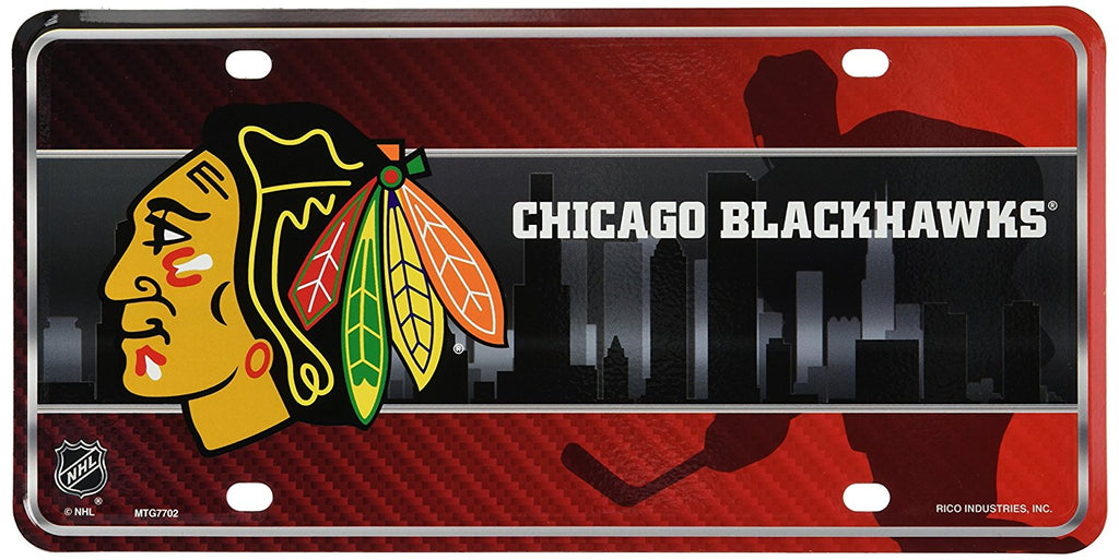 Rico NHL Chicago Blackhawks Auto Metal Tag Car License Plate MTG