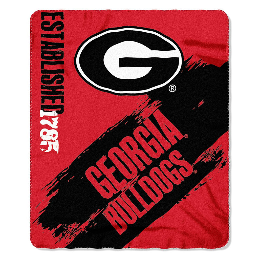 The Northwest Company NCAA Georgia Bulldogs Marque Printed Fleece Throw Red