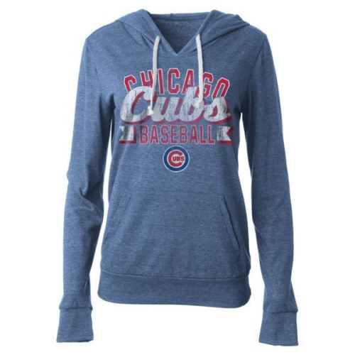 5th & Ocean MLB Women's Chicago Cubs Jersey Tri-blend Pullover Hoodie
