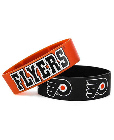 Aminco NHL Philadelphia Flyers 2 Pack Wide Silicone Bracelets