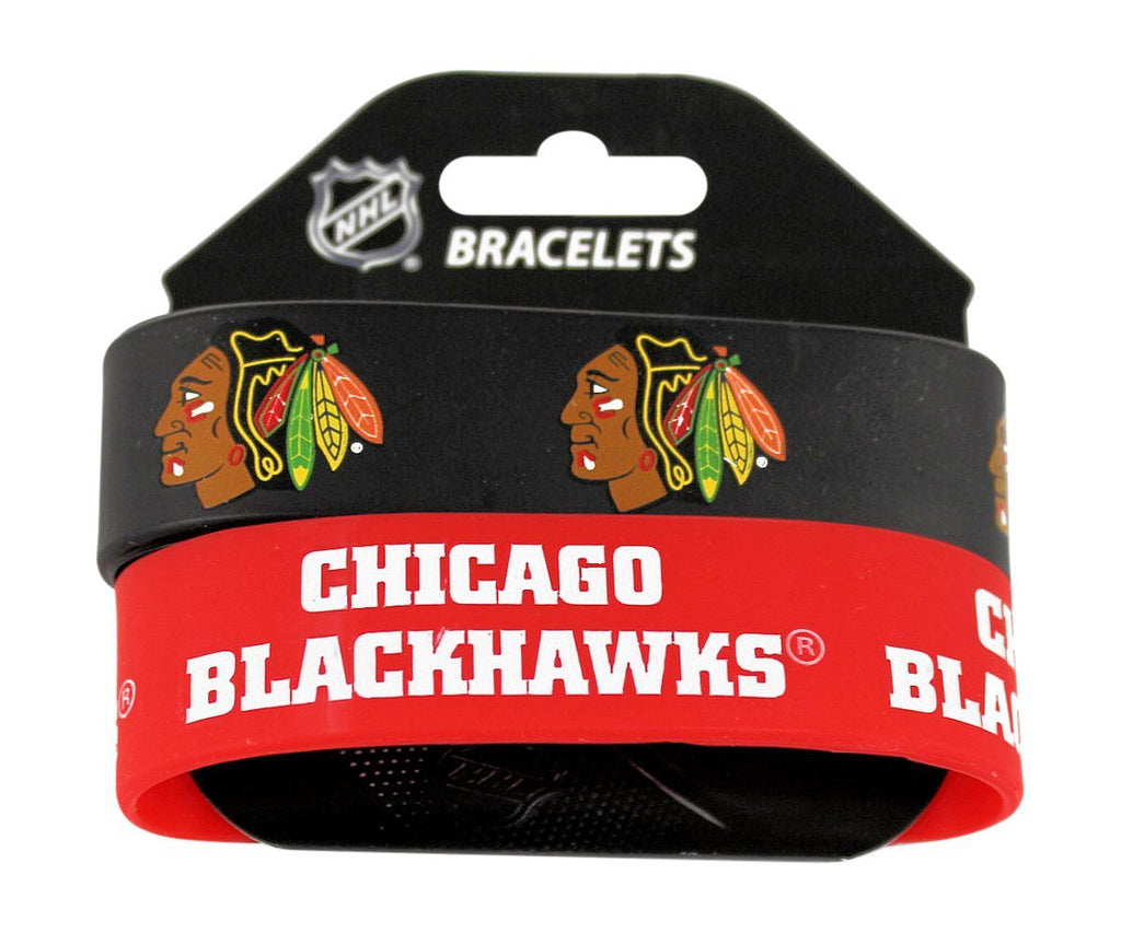 Aminco NHL Chicago Blackhawks 2 Pack Wide Silicone Bracelets