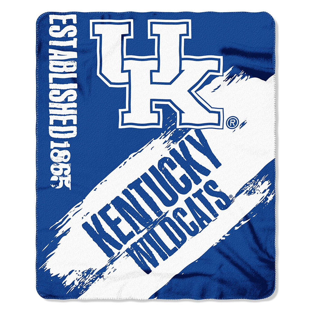 The Northwest Company NCAA Kentucky Wildcats Marque Printed Fleece Throw White/Blue