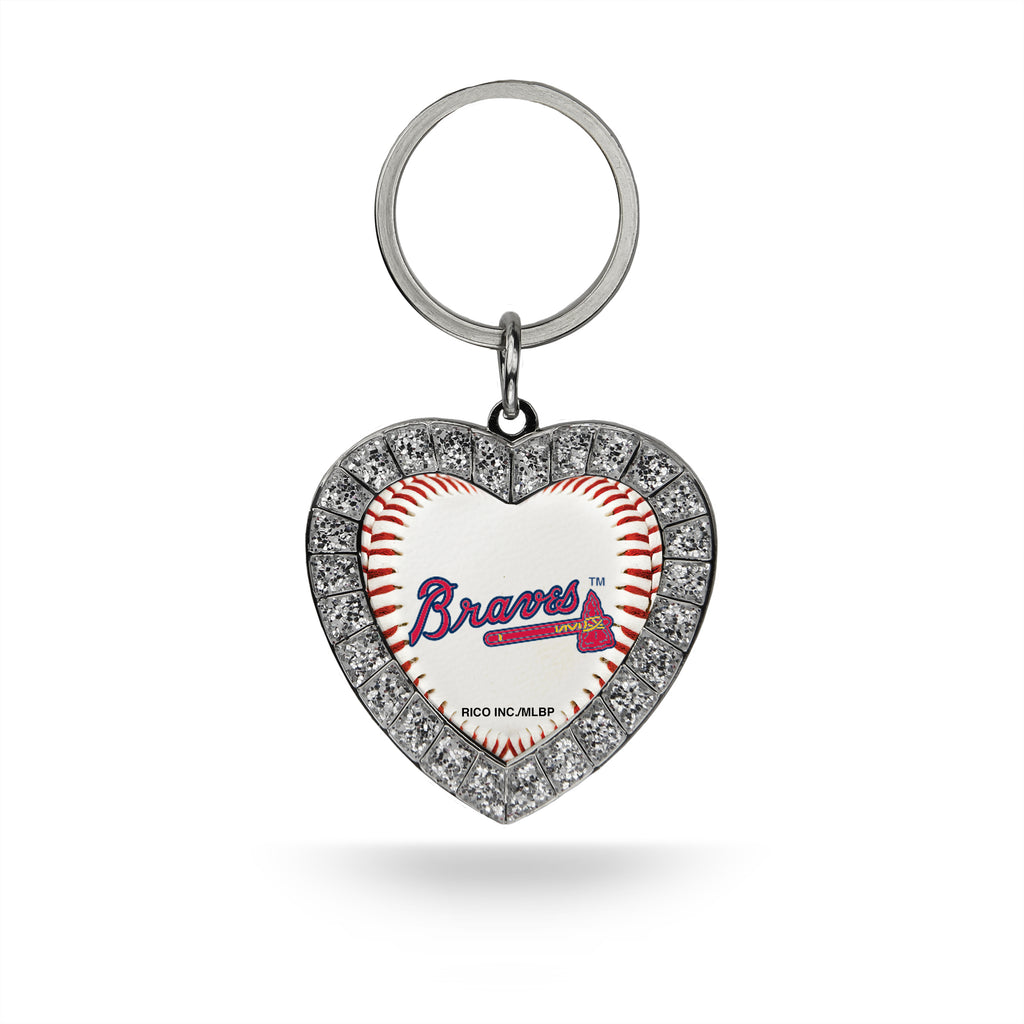 Rico MLB Atlanta Braves Rhinestone Heart Key Chain