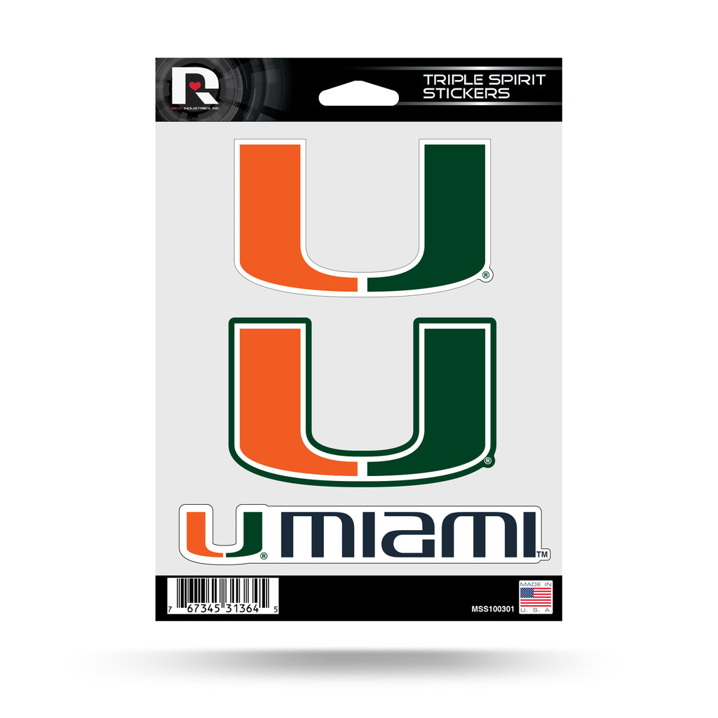 NCAA Miami Hurricanes Triple Spirit Stickers 3 Pack Team Decals