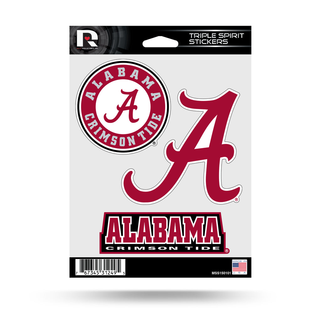 NCAA Alabama Crimson Tide Triple Spirit Stickers 3 Pack Team Decals