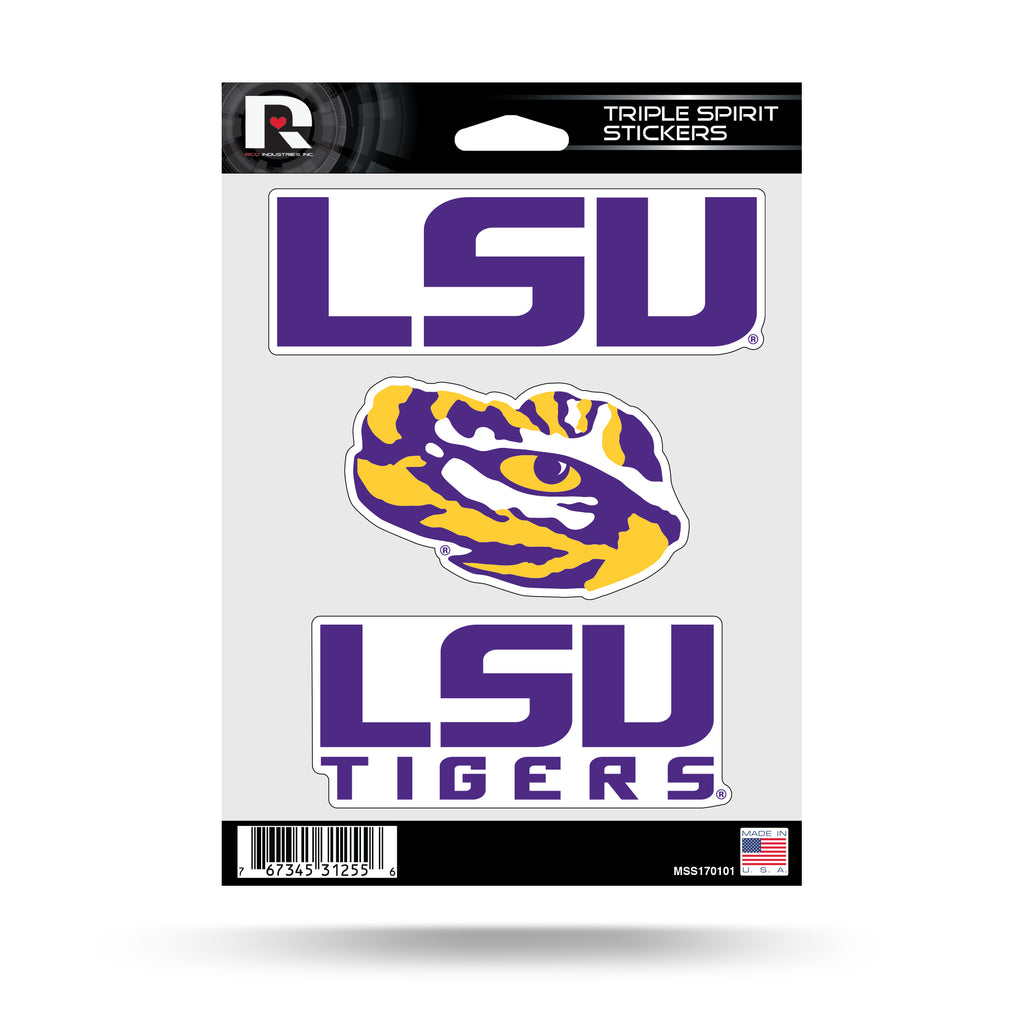 Rico NCAA LSU Tigers Triple Spirit Stickers 3 Pack Team Decals