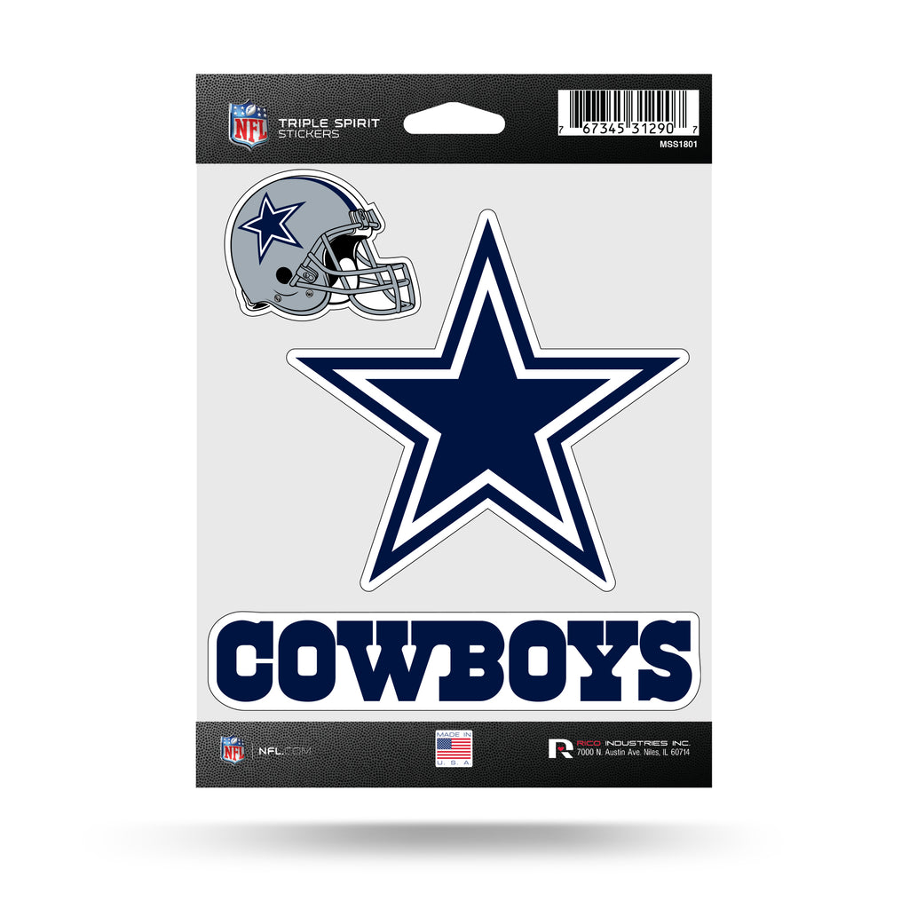 NFL Dallas Cowboys Triple Spirit Stickers 3 Pack Team Decals