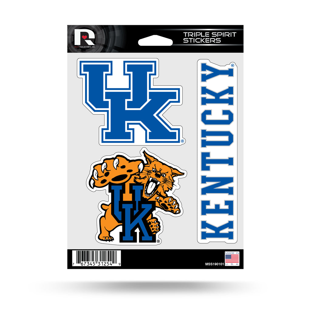 NCAA Kentucky Wildcats Triple Spirit Stickers 3 Pack Team Decals