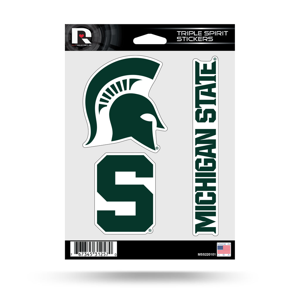 Rico NCAA Michigan State Spartans Triple Spirit Stickers 3 Pack Team Decals