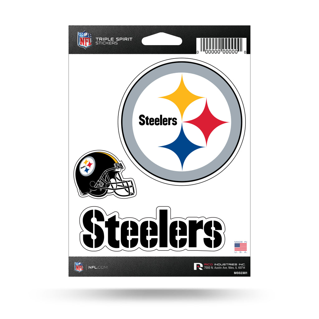 NFL Pittsburgh Steelers Triple Spirit Stickers 3 Pack Team Decals