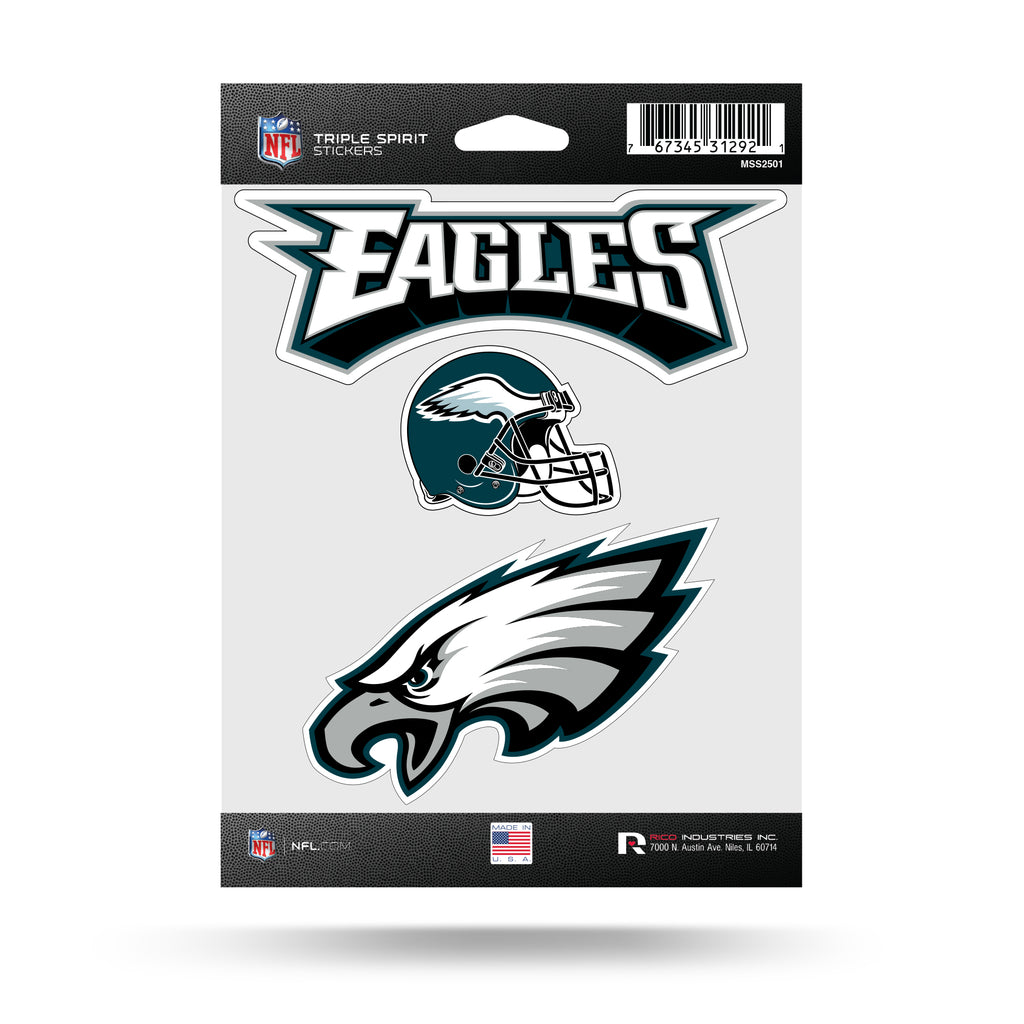 NFL Philadelphia Eagles Triple Spirit Stickers 3 Pack Team Decals