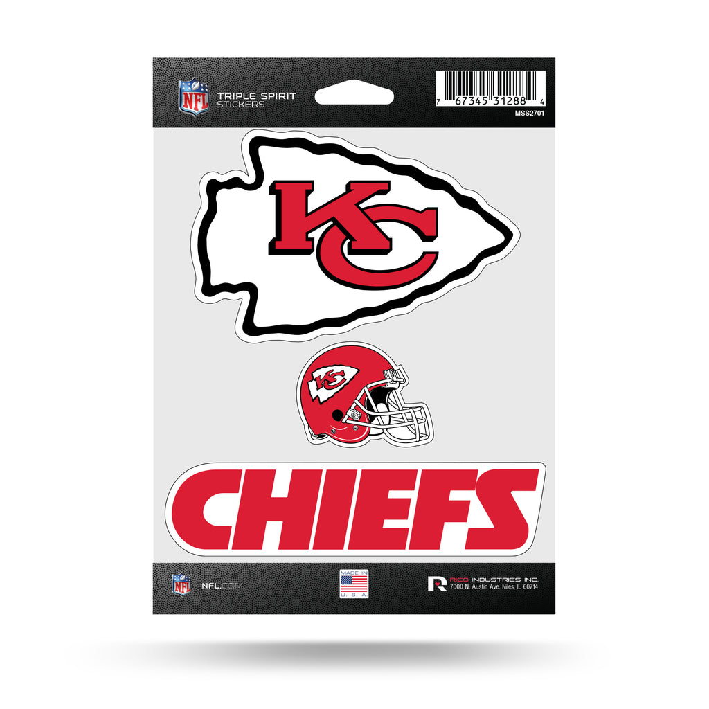 Rico NFL Kansas City Chiefs Triple Spirit Stickers 3 Pack Team Decals