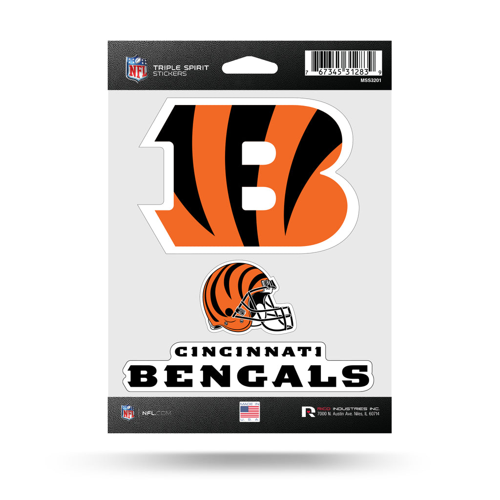 NFL Cincinnati Bengals Triple Spirit Stickers 3 Pack Team Decals