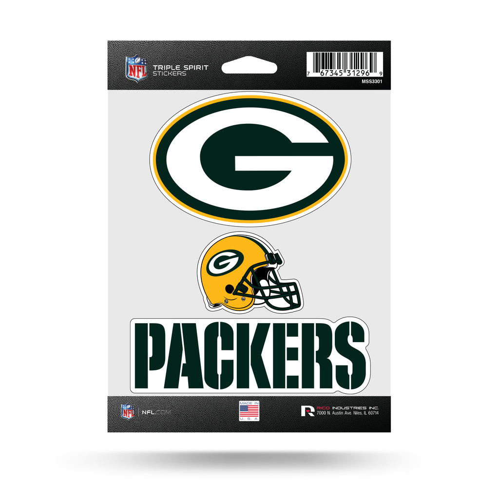 NFL Green Bay Packers Triple Spirit Stickers 3 Pack Team Decals