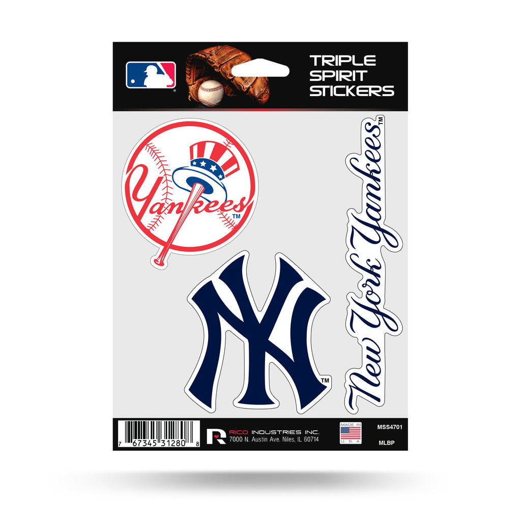 Rico MLB New York Yankees Triple Spirit Stickers 3 Pack Team Decals