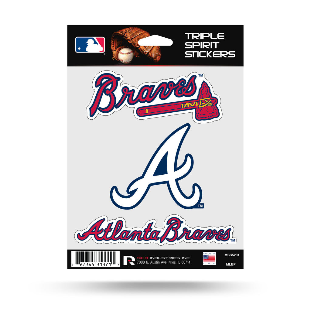 Rico MLB Atlanta Braves Triple Spirit Stickers 3 Pack Team Decals