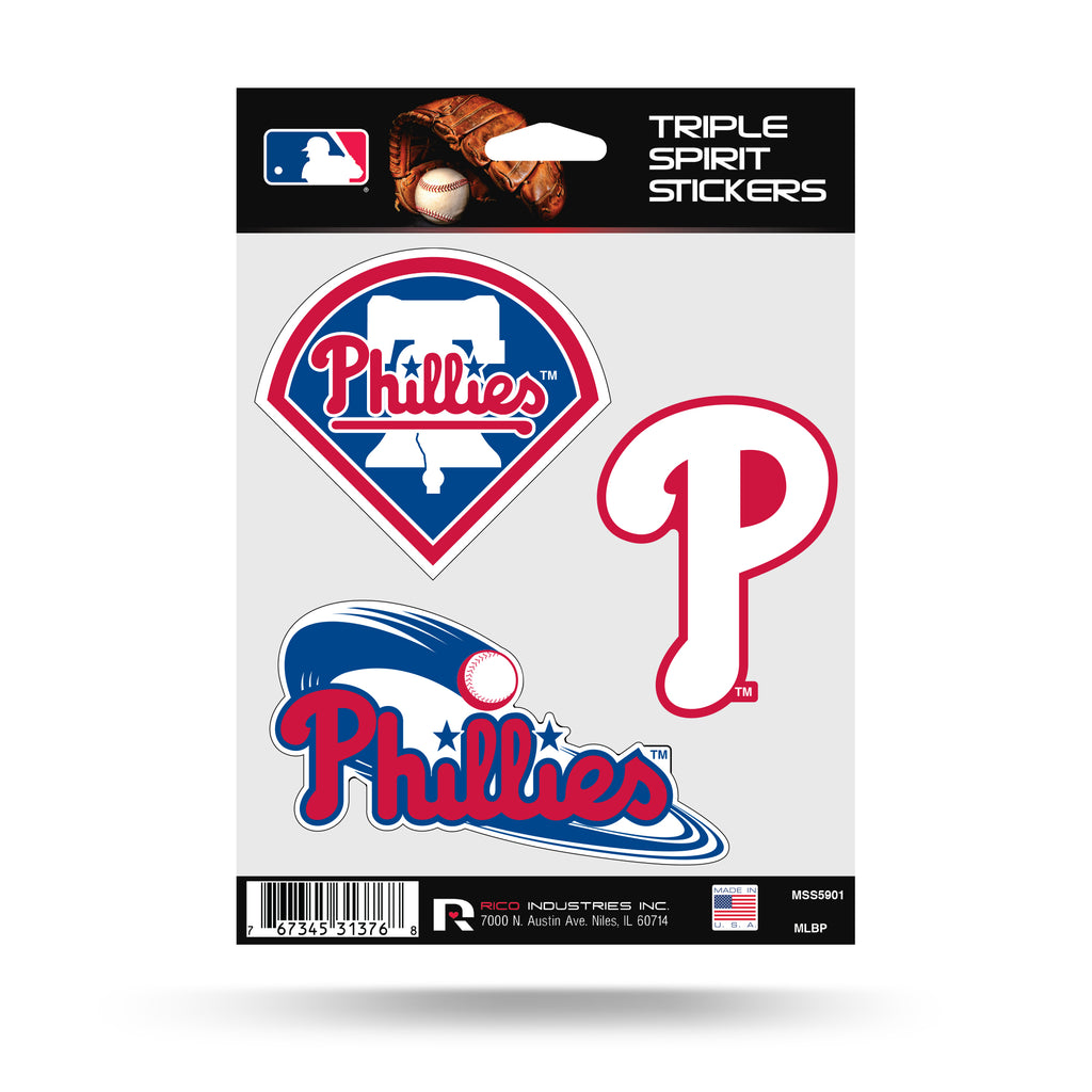 Rico MLB Philadelphia Phillies Triple Spirit Stickers 3 Pack Team Decals