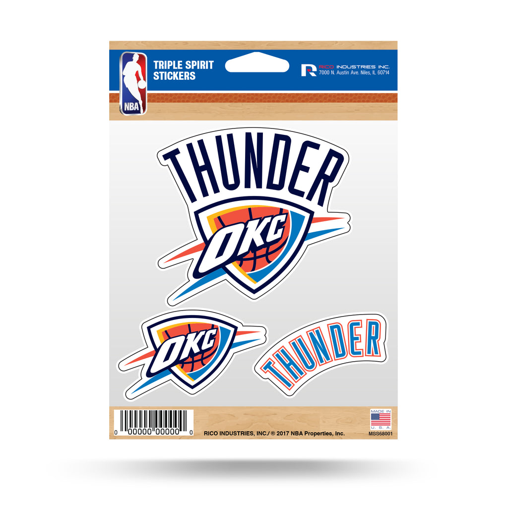 Rico NBA Oklahoma City Thunder Triple Spirit Stickers 3 Pack Team Decals